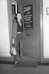 Francoise de la Renta leaving Joe's Studio...this is the actual front door of his 2nd floor place on 8th Avenue, NYC. Photo from Corbis.
